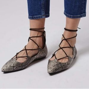 Topshop snakeskin lace up point toe flats caged